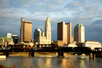 Columbus, Ohio Skyline with Train